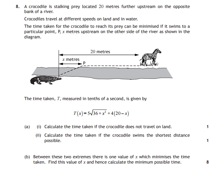 Crocodile math test question