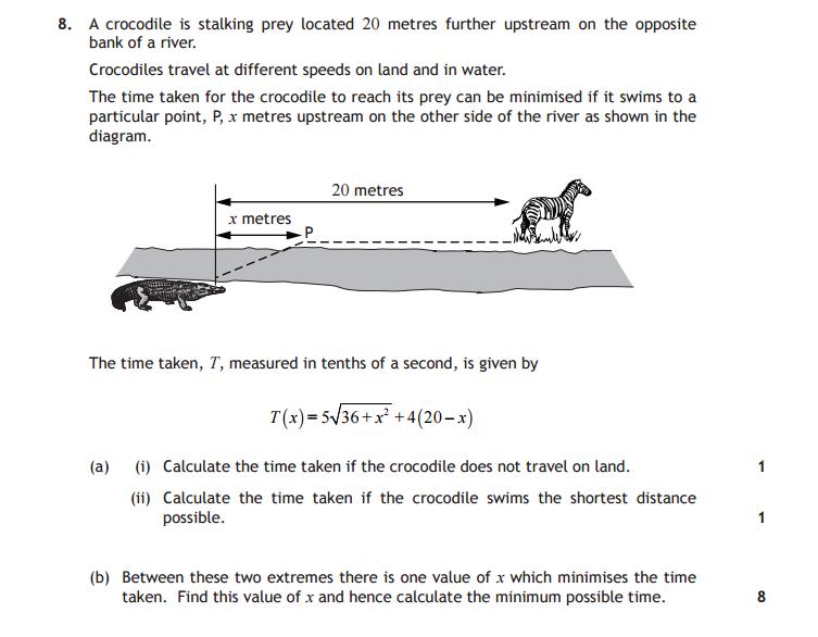 Crocodile math test question