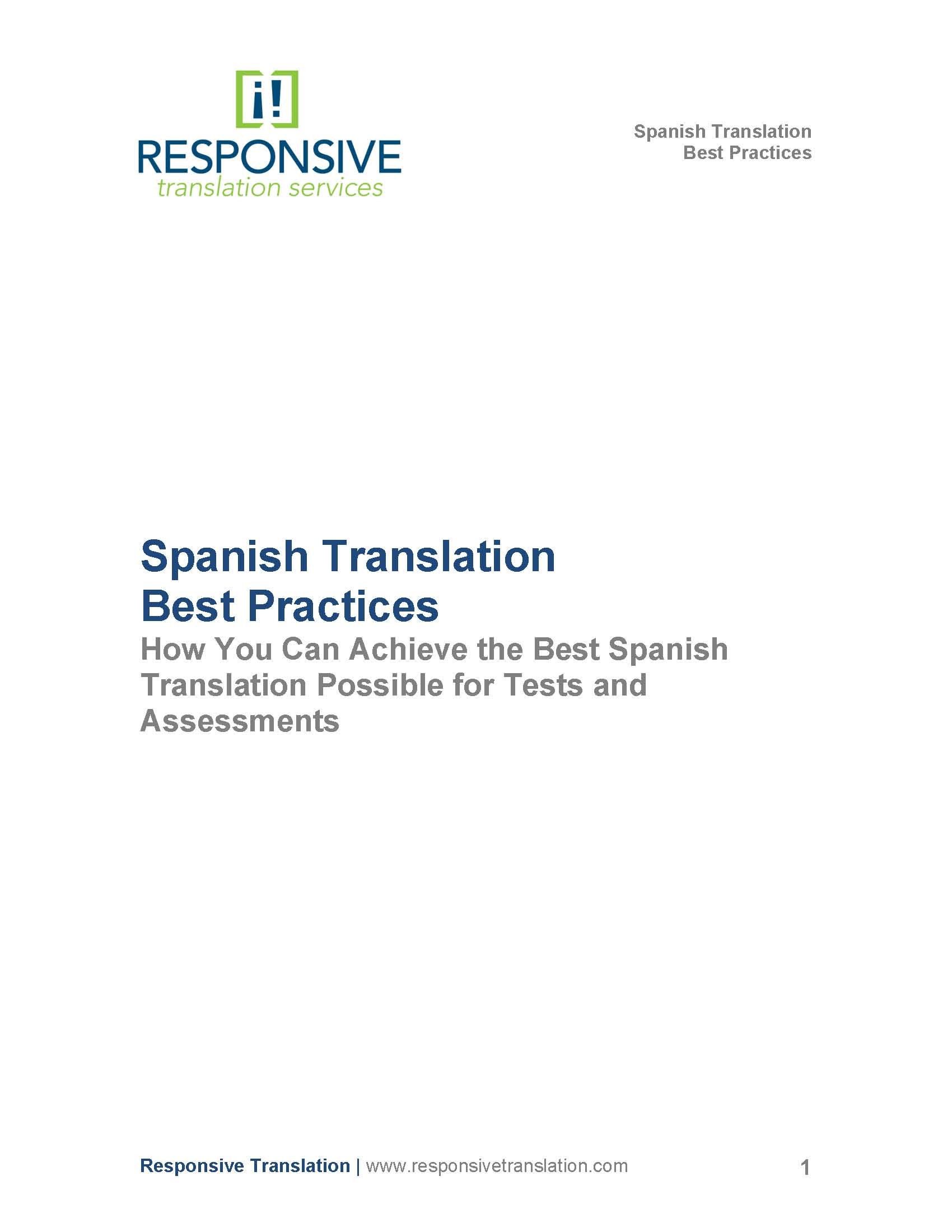 best practices for spanish translation spanish white paper title page